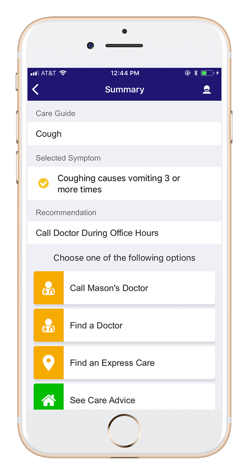 AppCatalyst healthcare mobile app development screen showing a care guide for a cough, including medical recommendation