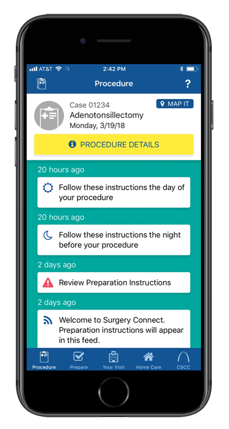 Screen cap showing an example of AppCatalyst healthcare mobile app development with procedure preparation instructions