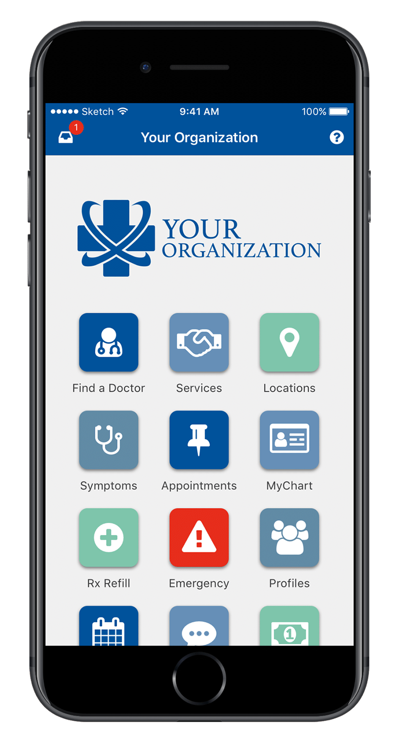 Screen cap showing an example of AppCatalyst healthcare mobile app development with Your Organization name in the app