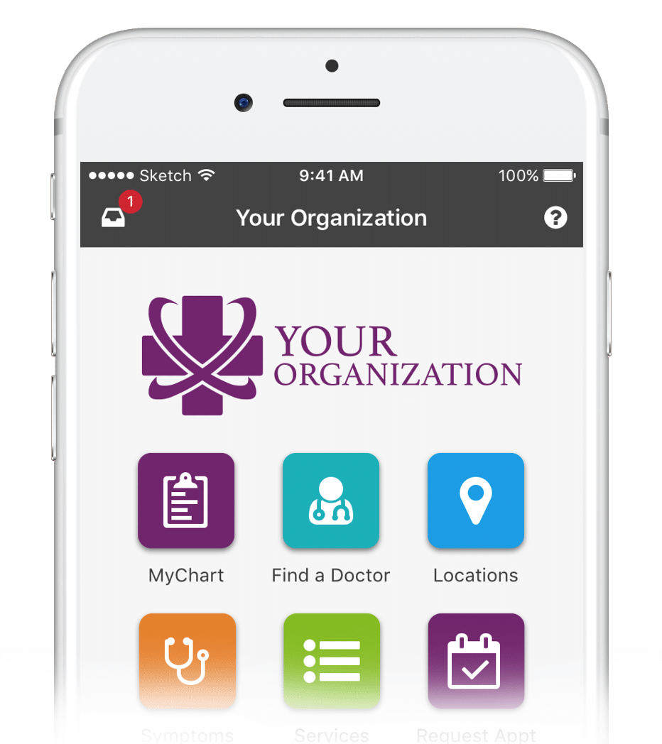 Customizable container app screenshot from AppCatalyst, showing mobile apps for healthcare and self-care.