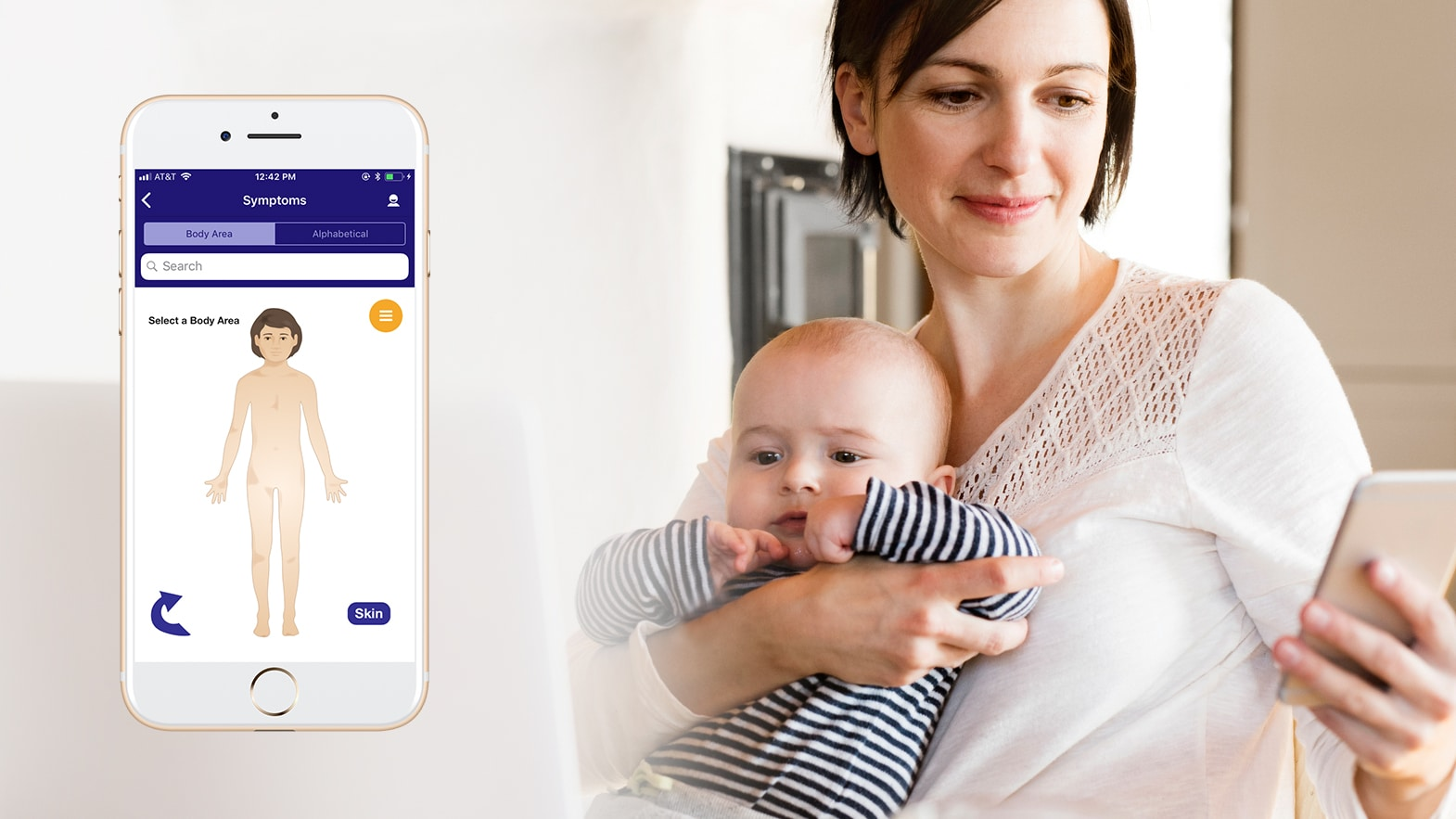 Mother with baby checking for online medical advice and using self-triage tools from AppCatalyst
