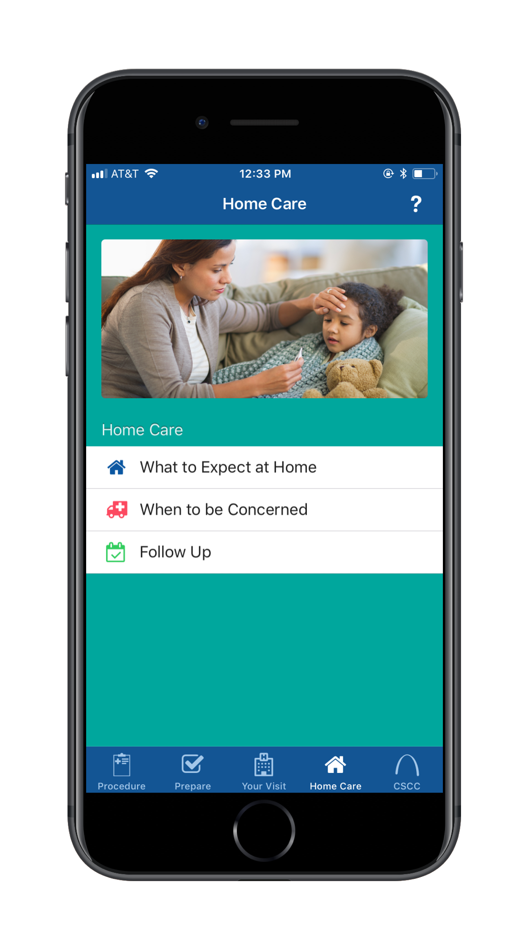 Screen cap of the Surgery Partner surgery app with home care advice and information for patients