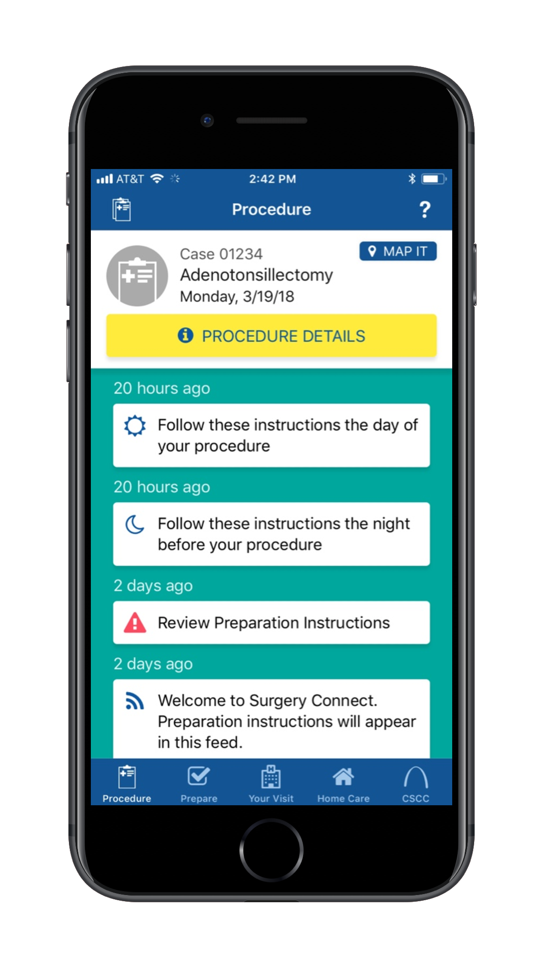 Screen cap of the Surgery Partner surgery app with information on a patient procedure and preparation instructions for the patient