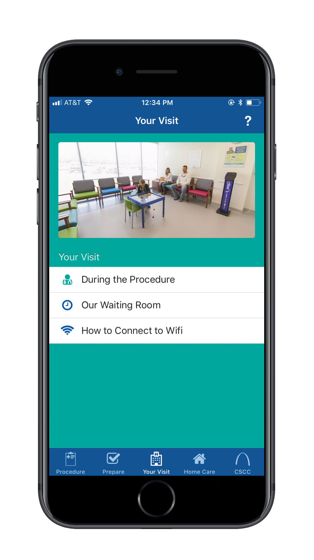 Screen cap of the Surgery Partner surgery app with information on Your Visit at the hospital