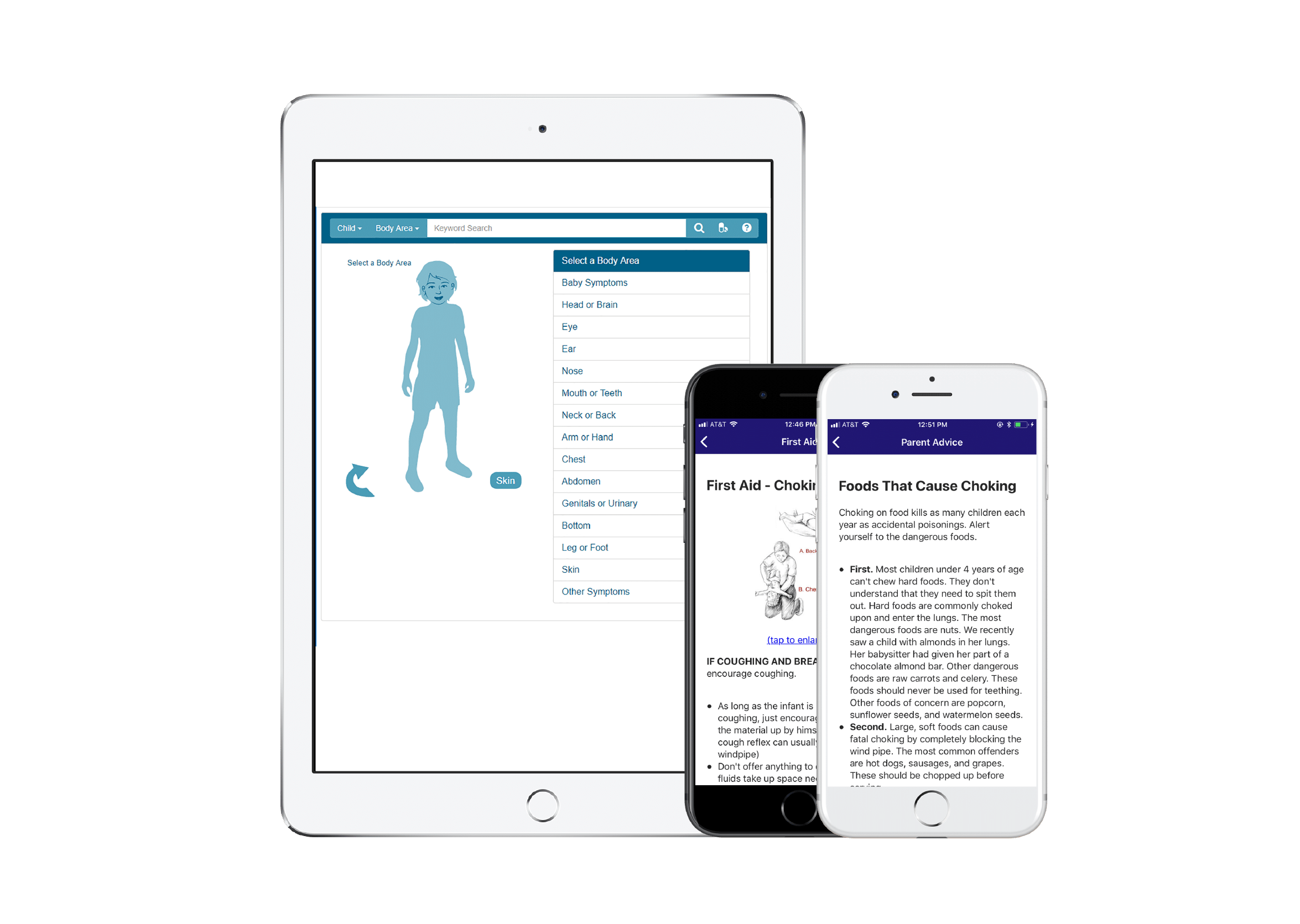 Symptom Checker app by AppCatalyst on multiple mobile devices